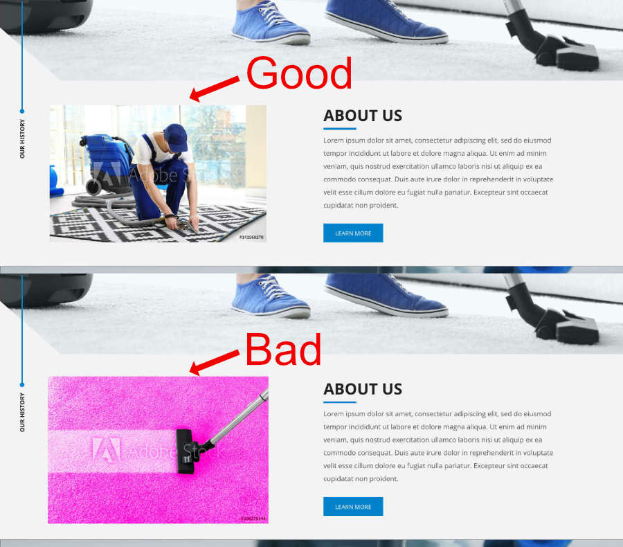 Match Images to website dont use vivid colors on matte web design