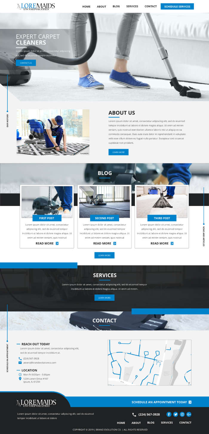 Images match website colors carpet cleaning company